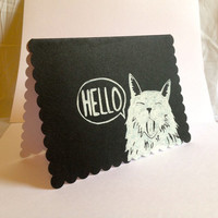 WHITE CAT STATIONERY and Black Cat Hello greeting cards with envelopes, Cat stationary, gift for cat lover, gift for animal lover