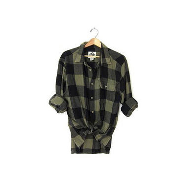 Vintage green and black CAMPUS Buffalo check Plaid Flannel / Grunge Shirt / Button up shirt