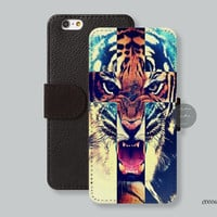 Cross Tiger Leather Wallet iPhone 6 case iPhone 6 plus case, Wallet cover iPhone 5s case iPhone 5c case Galaxy s3 s4 s5 C00062