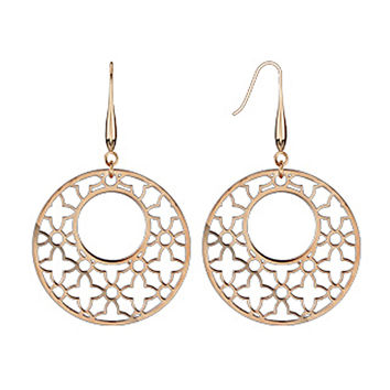 Spikes Womens 316L Surgical Stainless Steel Rose Gold IP Laser Cut Dangle Earring