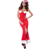 Red Christmas Festive Halter Neck Long Dress with Hat _ 2661
