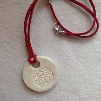 Handmade Tree of Life Ceramic- Aromatherapy / Essential Oils Diffuser Pendant scented necklace