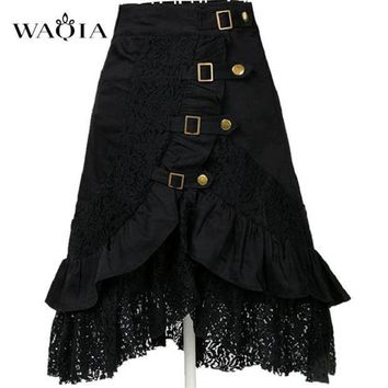 CREY78W 2017 Hot Women Steampunk Clothing Skirt Punk Gothic Retro Black/white Lace Skirt Party Club Wear Saia Femininas Plus Size S-XXL