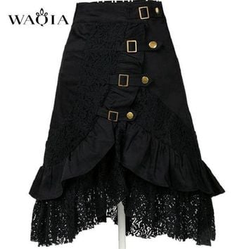 ESB78W 2017 Hot Women Steampunk Clothing Skirt Punk Gothic Retro Black/white Lace Skirt Party Club Wear Saia Femininas Plus Size S-XXL