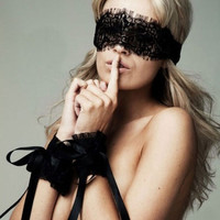 New Women's Sexy Lingerie Black Lace Eye mask Covers with 1 pair Hand Wrap Gloves (Color: Black) = 1932847236
