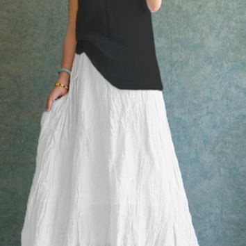Celmia 2018 Summer Women Vintage Linen Skirts Casual Loose Solid Long Skirt Elastic Waist Beach Pleated Maxi Skirts Plus Size