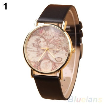 Women's Retro World Map Watch Faux Leather Round Analog Quartz Wrist Watch = 1956684740