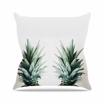 "Chelsea Victoria ""Two Pineapples"" Green Gold Outdoor Throw Pillow"