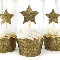 Gold Glitter Star Cupcake Toppers - 12 Large - Party Supplies // Wedding Decorations // Birthday Party