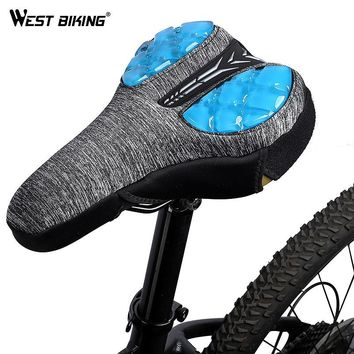 WEST BIKING Bike Saddle Cover Bicycle Silicone Gel Seat Pad Cushion Road MTB Shock-proof Cycling Soft Front Seat Mat Cover