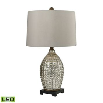 Reverse Hammered Glass LED Table Lamp in Antique Mercury