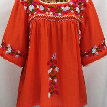 """La Marina"" Embroidered Mexican Blouse -Orange"