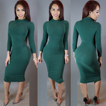 Turtleneck Long Sleeves Bodycon Midi Dress