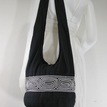 Black Square Grid Embroidered Cotton Hippie Boho Hobo,Cross body Bag, Shoulder Messenger Bag E-CBS12