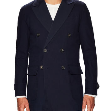 Hardy Amies Men's Woven Reversible Notch Peacoat - Dark Blue/Navy -