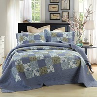 DaDa Bedding Flannel Floral Plaid Periwinkle Blueberry Checkered Quilted Bedspread Set (LH1340)