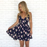 Poppy Dreams Floral Dress in Navy