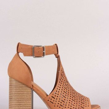 a4eaec0642d Qupid Perforated Peep Toe Ankle Strap Chunky Heel