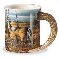 Wild Wings Sculpted Whitetail Deer Birch Line Coffee Mug