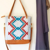 Teal Aztec tote with crossbody strap