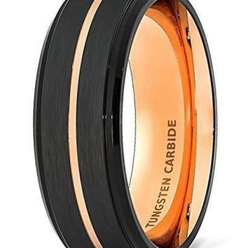 CERTIFIED 8mm Wedding Band Black Brushed Tungsten Ring Thin Rose Gold Groove Step Edge Comfort Fit