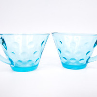 Vintage Aqua Blue Glass Teacups Hazel Atlas Capri Blue Dots Coffee Mugs Glassware Set of 2