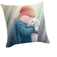 'Cute Girl with Dog' Throw Pillow by ironydesigns
