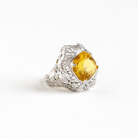 Vintage Art Deco Sterling Silver Simulated Citrine Ring - Antique 1920s Size 4 3/4 Filigree Orange Yellow Glass Stone Oval Statement Jewelry