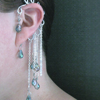 Ear Cuff Crystal Sparkle Pretty Funky Unique Dangle Color Christmas Stocking Stuffer