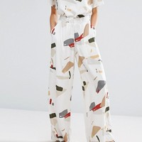Native Youth Wide Leg Trousers In Abstract Print Co-Ord at asos.com