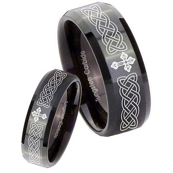 His and Hers Celtic Cross Beveled Edges Edges Black Tungsten Engagement Ring Set