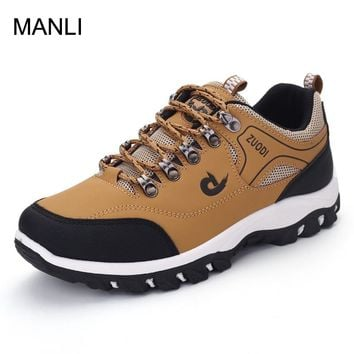 MANLI New Big Size 39-47 Outdoor Men Hiking Shoes PU Leather Walking Jogging Shoes Mountain Sport Boots Climbing Sneakers