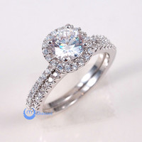 1ct Engagement Wedding Set 2 RINGS Signity CZ Rhodium over Sterling Silver