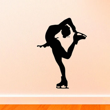 Vinyl Wall Decals Figure Ice Skater Skating Silhouette Sports Decal Sticker Home Decor Art Mural Z659