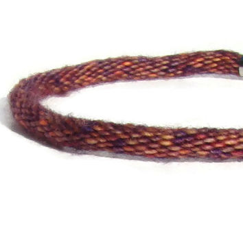 NEW Cozy Collection-- limited edition variegated oranges and browns kumihimo bracelet with stainless steel magnetic clasp