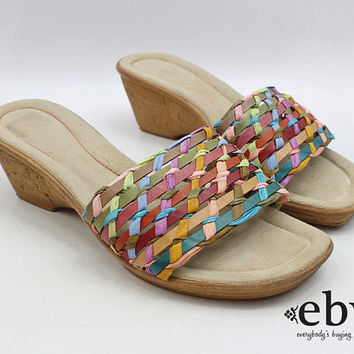 Rainbow Slides 90s Slides Rainbow Sandals Rainbow Shoes Woven Slides Hippie Sandals Rainbow Wedges 1990s Slides Leather Slides Size 7