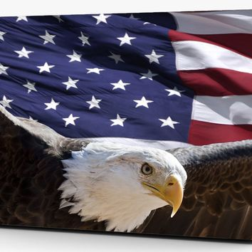 Bald Eagle American Flag Vinyl Laptop Computer Skin Sticker Decal Wrap Macbook Various Sizes