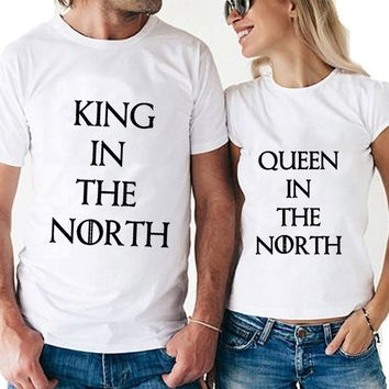Cool Game of Thrones King Queen in the North T Shirts Valentine Men Women Couple Clothes Lovers T-Shirts Funny Tshirts Femme Tops TeeAT_93_12