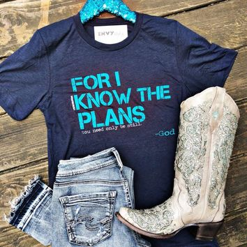 For I Know the Plans Navy with Teal B3