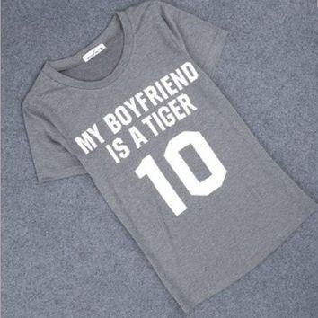 DCCKJ1A MY BOYFRIEND IS A TIGER 【Frontã€?printed hippie punk women's T-shirt
