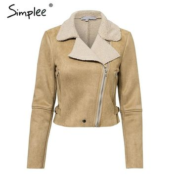 Trendy Simplee Turn down collar zipper suede jacket Casual leather short women autumn winter coat Thick warm outwear overcoat female AT_94_13