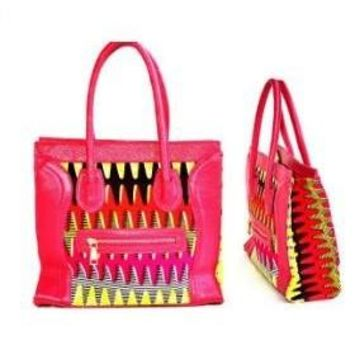 Designer Pink African Kitenge Wax Print Top Handle Bag