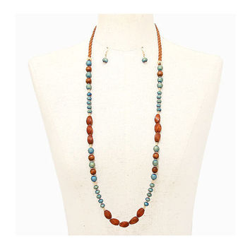 Boho Braided Suede Brown & Teal Wood Multi-Color Bead Strand Long Necklace