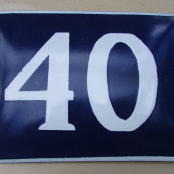 Vintage French House Number, Door Number 40, Preservede French Blue Enameled Sign Number 40, Street Sign Number 40, Blue Enamel Metal Plate