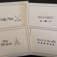 Trendy Sayings/4  Handmade blank Cards / Greeting Cards