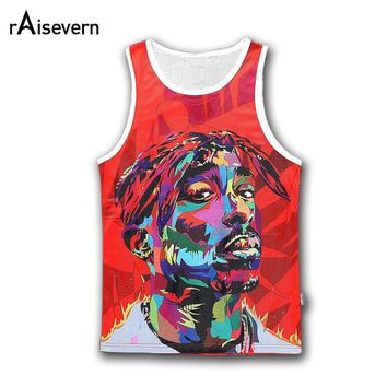 Raisevern New Harajuku Fashion Men/women Tupac 2Pac Tank Top Casual 3d Character Sleeveless Hip Hop Summer Tops Dropship