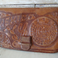 Vintage Hand Tooled leather Clutch Purse Brown Mexico