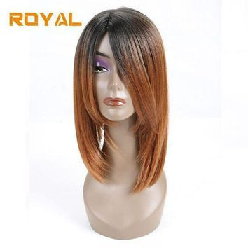 Royal Non Remy Hair Brazilian Human Hair Wigs For Black Women Ombre Straight Hair Short Bob Wig 1b #30 Color