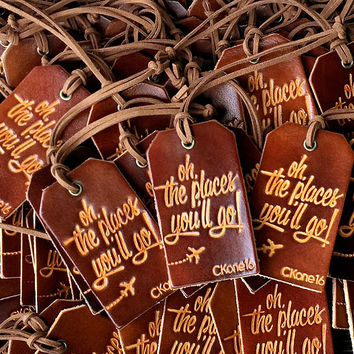 Personalized Luggage Tag Wedding Favors - Genuine Leather