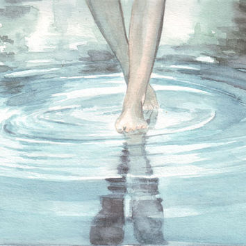 Original watercolor painting walking after the rain smell reflections art